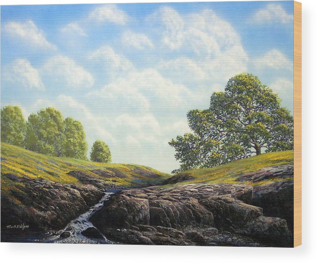 Landscape Wood Print featuring the painting Flowering Meadow by Frank Wilson