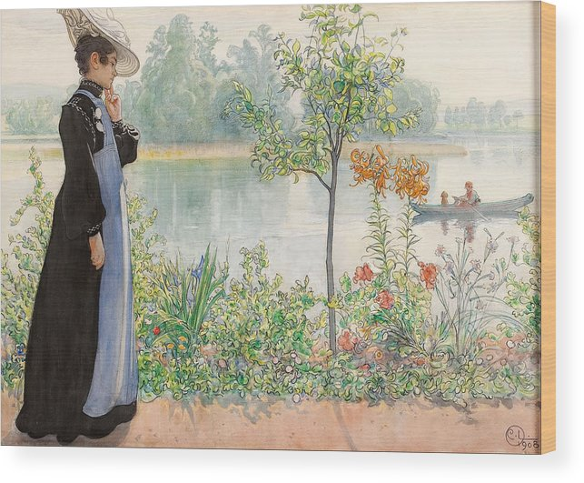Karin By The Shore By Carl Larsson Wood Print featuring the painting Karin By The Shore by Carl Larsson