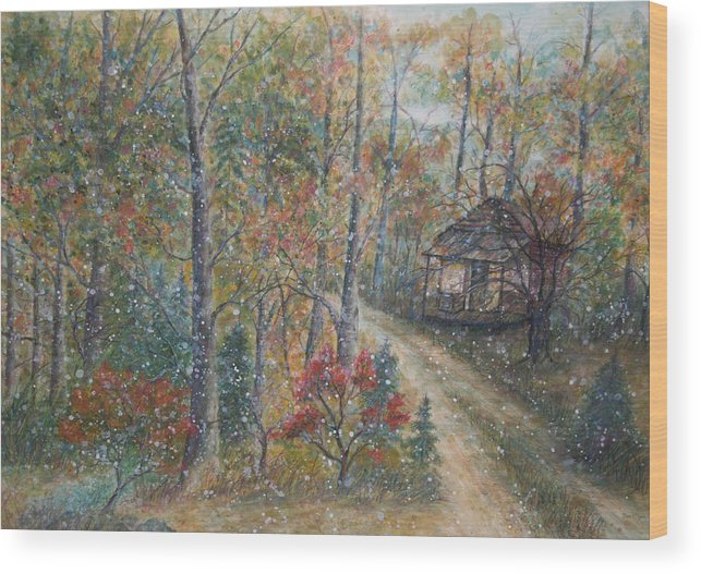 Country Road; Old House; Trees Wood Print featuring the painting A Bend In The Road by Ben Kiger