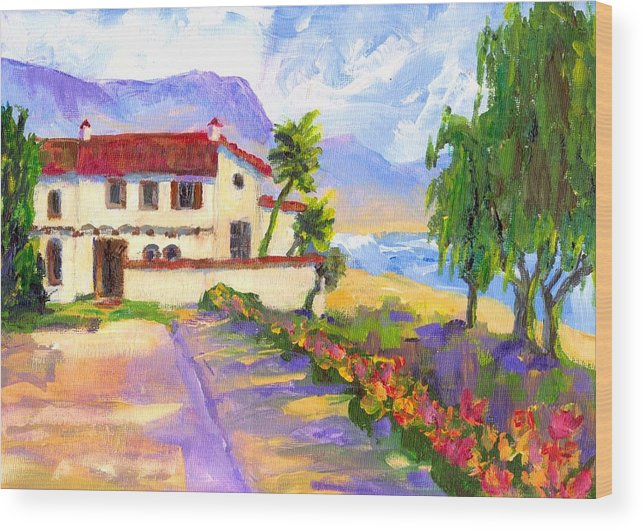 Spanish Wood Print featuring the painting Adamson Home Malibu by Randy Sprout