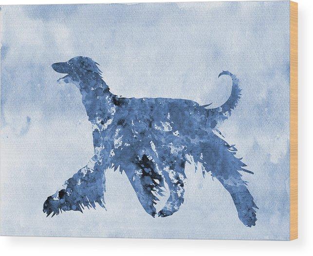 Afghan Hound Wood Print featuring the digital art Afghan Hound-blue by Erzebet S