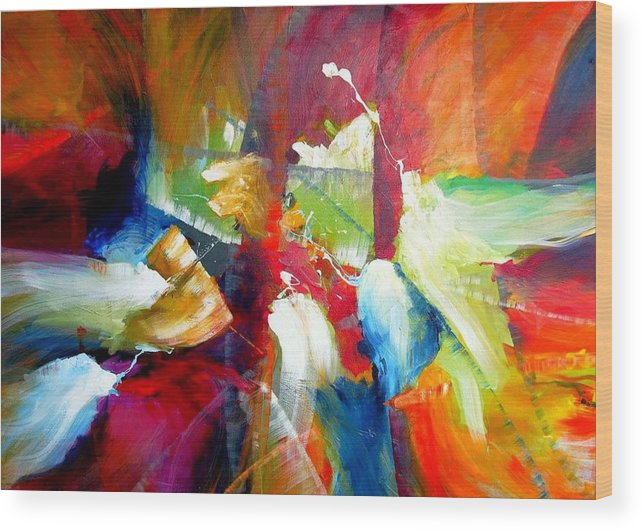 Abstract Modern Contemporary Original Wood Print featuring the painting After Winning Sensation by Dan Bunea