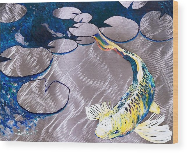 Aluminum Print Koi Fish Print On Metal Fish Art Yellow