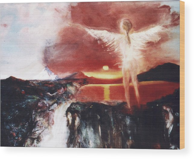 Angel Wood Print featuring the painting Angel Of The Yucatan by Michela Akers