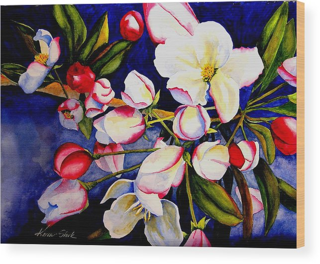 Apple Blossoms Wood Print featuring the painting Apple Blossom Time by Karen Stark