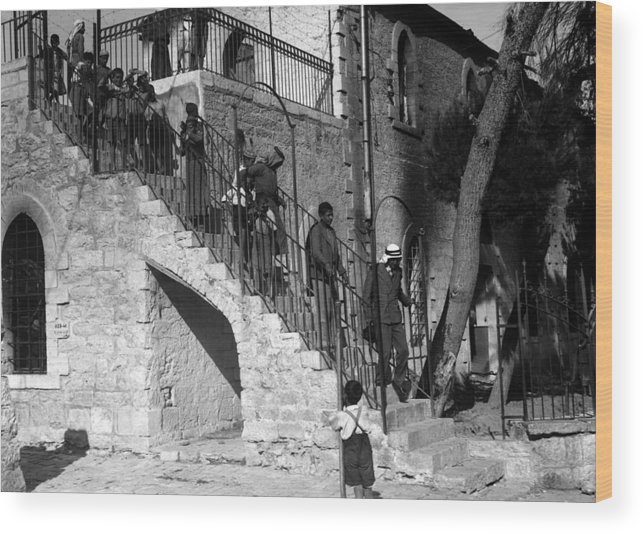 Bethlehem Wood Print featuring the photograph Arab Youths In Bethlehem 1938 by Munir Alawi