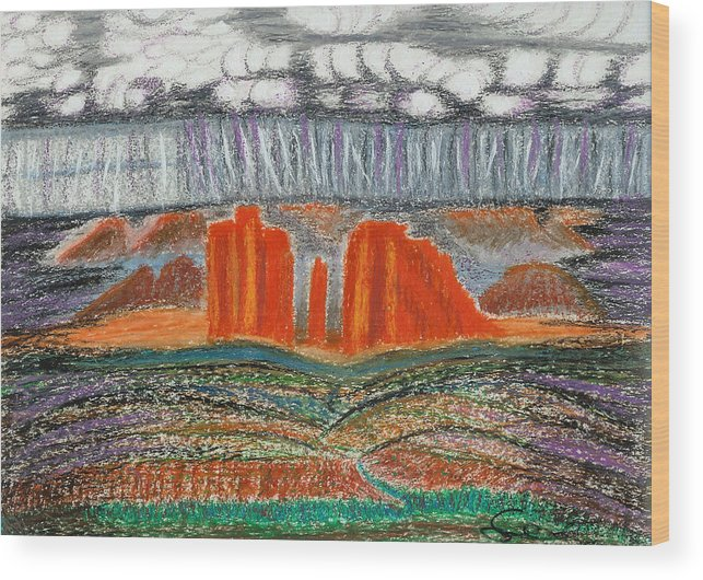 Red Rocks Wood Print featuring the drawing Arizona Rain by Ingrid Szabo