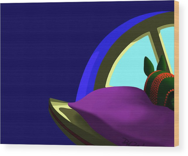 Dkzn Wood Print featuring the digital art Armadillo On A Pillow by Tom Dickson