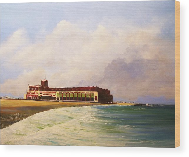 Asbury Park Wood Print featuring the painting Asbury Park Convention Hall by Ken Ahlering