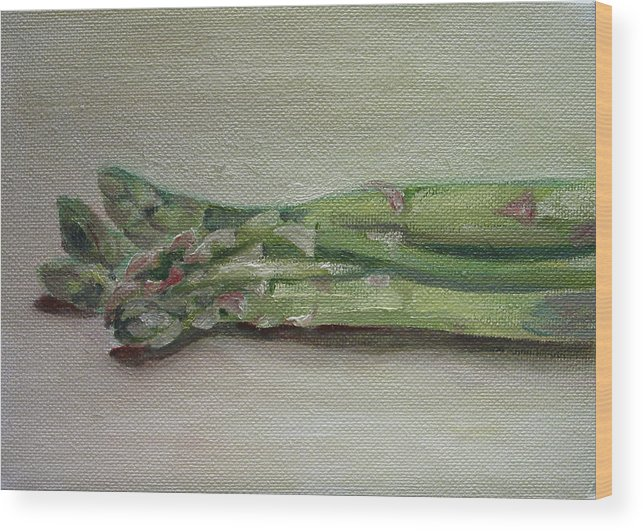 Food Wood Print featuring the painting Asparagus by Sarah Lynch