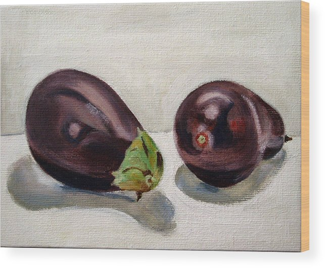 Still-life Wood Print featuring the painting Aubergines by Sarah Lynch