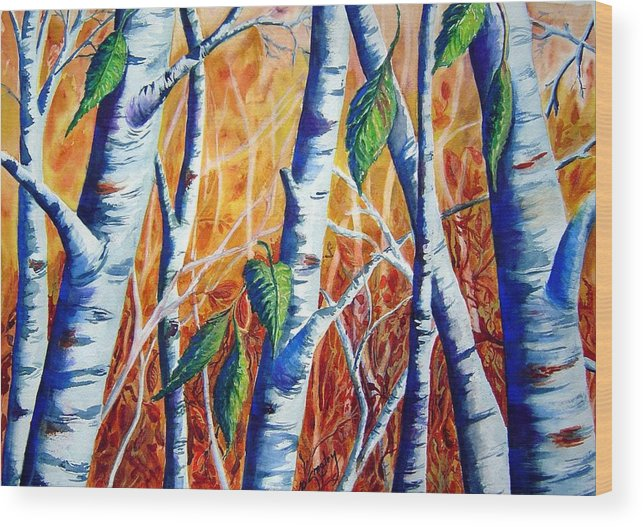 Autumn Birch Trees Wood Print featuring the painting Autumn Birch by Joanne Smoley