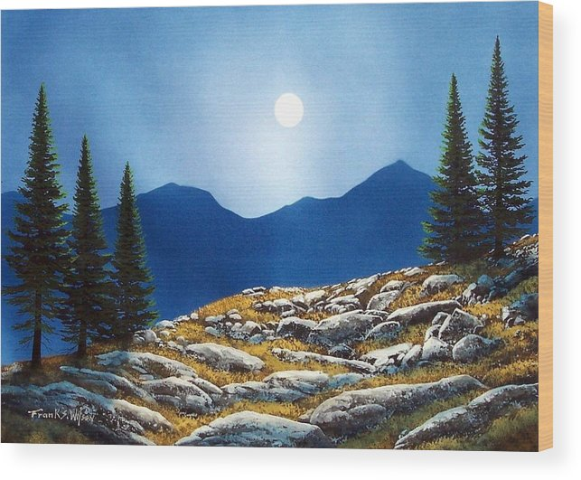 Landscape Wood Print featuring the painting Autumn Moon by Frank Wilson