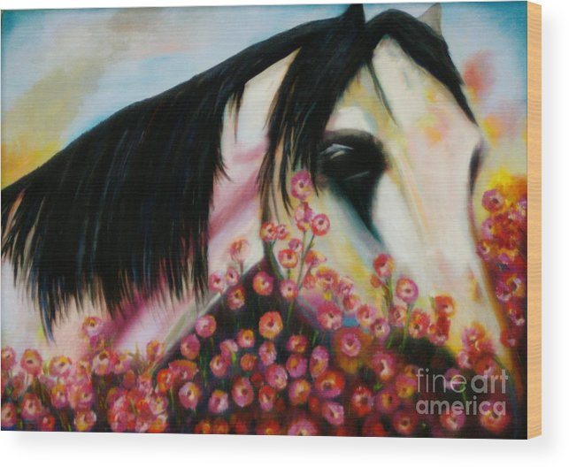 Horse Wood Print featuring the painting Avalon's Rose by Sidra Myers