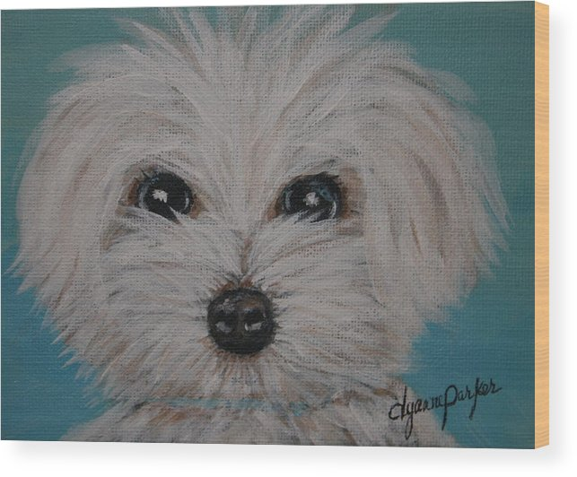 Dog Wood Print featuring the painting Baby Blue by Dyanne Parker