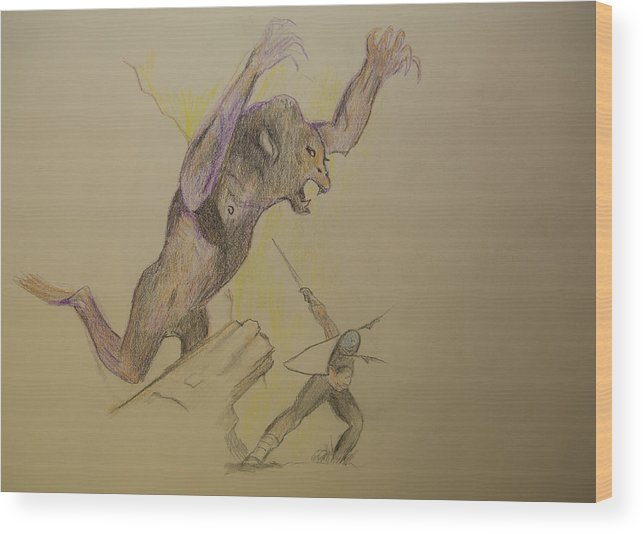 Angelico Wood Print featuring the drawing Bad Day by D Angelico