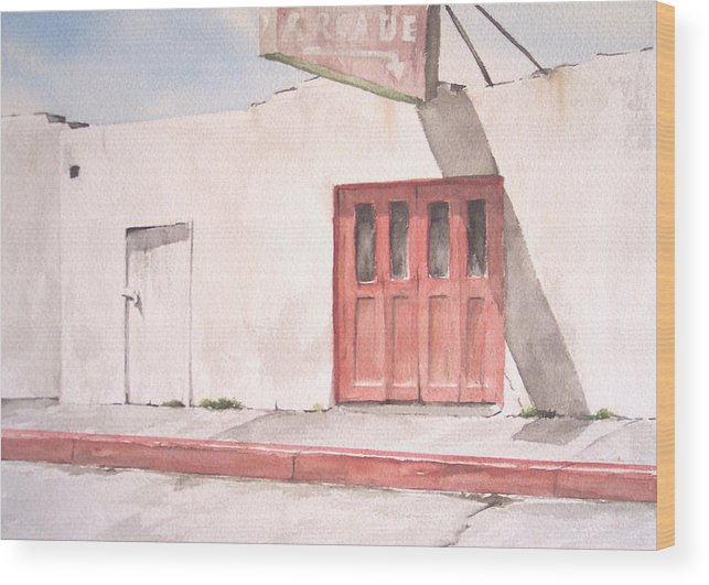 Urban Landscape Wood Print featuring the painting Balboa Fun Zone by Philip Fleischer