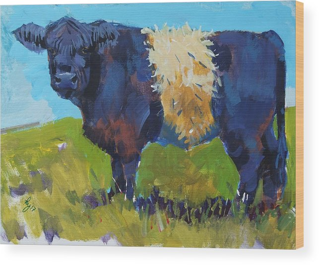 Belted Galloway Cow Wood Print featuring the painting Belted Galloway Cow - The Blue Beltie by Mike Jory