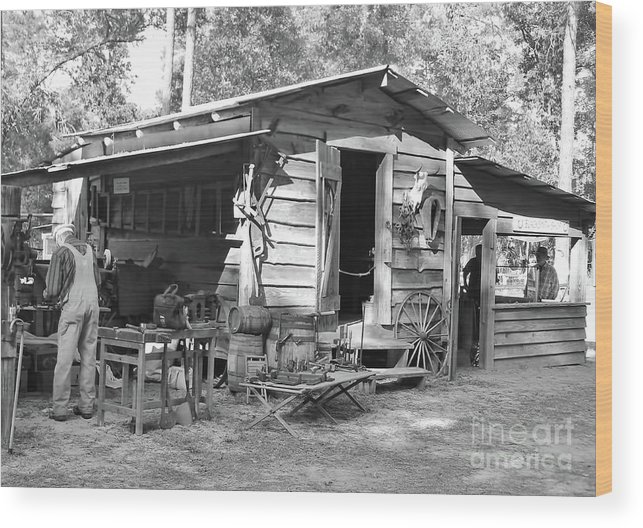 Blacksmith Wood Print featuring the photograph Blacksmith And Tool Shed by D Hackett