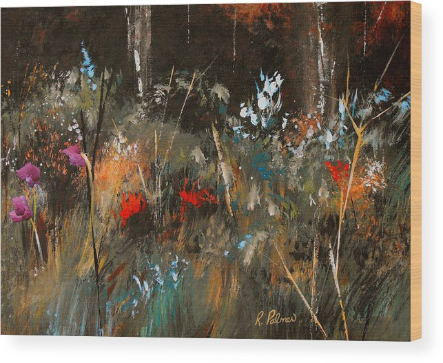 Abstract Wood Print featuring the painting Blue Grass And Wild Flowers by Ruth Palmer
