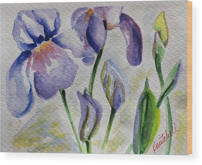 Floral Wood Print featuring the painting Blue Iris by Kathy Mitchell
