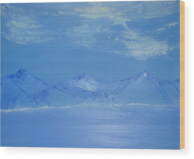 Mountains Wood Print featuring the painting Blue Landscape by Liz Vernand