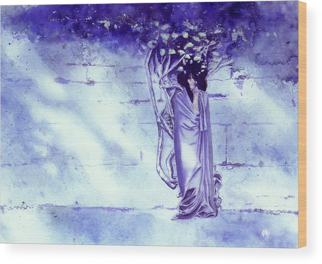 Woman Wood Print featuring the painting Blue Mood by Ken Meyer