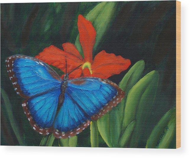 Butterfly Wood Print featuring the painting Blue Morph by Darlene Green