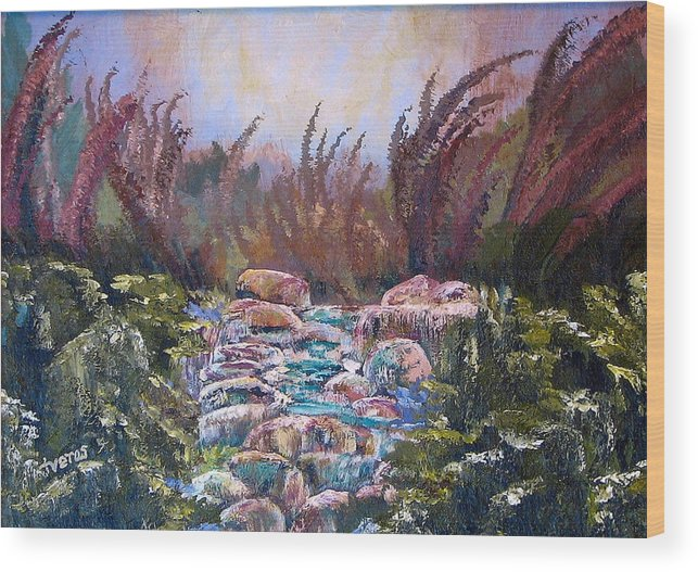 Water Wood Print featuring the painting Blue Water by Laura Tveras
