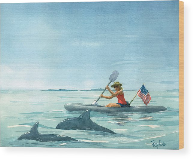 Ocean Wood Print featuring the painting Boating Dolphin by Ray Cole