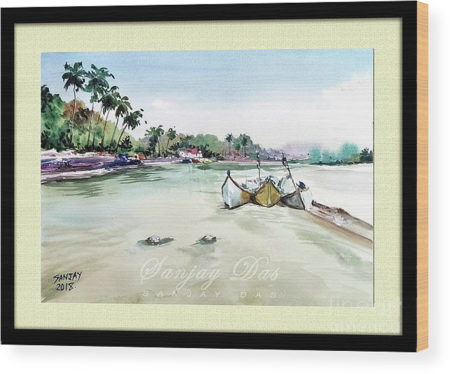Watercolor Wood Print featuring the painting Boats In Beach by Sanjay Das
