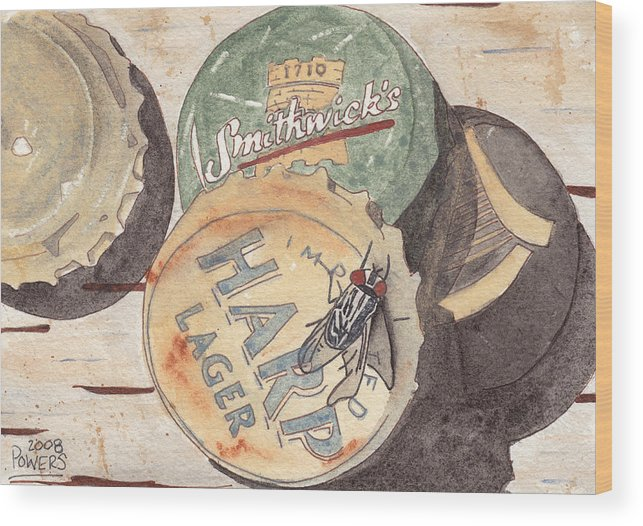 Bottle Wood Print featuring the painting Bottlecaps And Barfly by Ken Powers