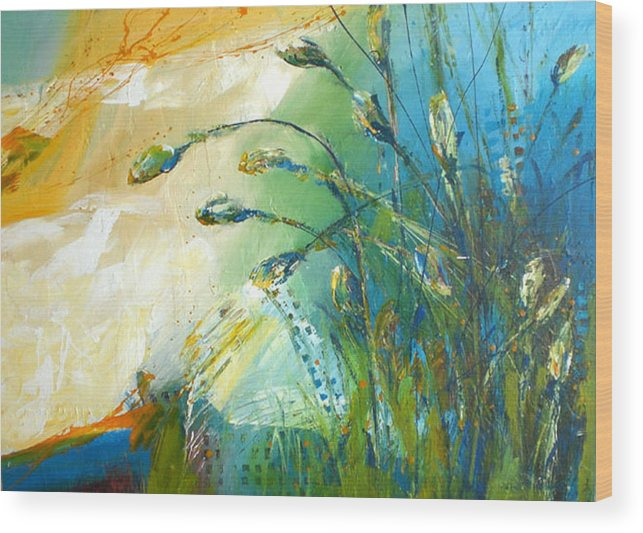 Floral Weeds  Blue Green Textured Abstract Wood Print featuring the painting Brillance by C C Opiela