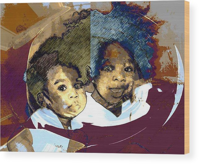 Portrait Wood Print featuring the photograph Brothers 1 by LeeAnn Alexander