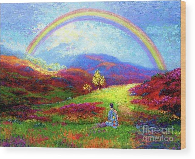 Meditation Wood Print featuring the painting Buddha Chakra Rainbow Meditation by Jane Small