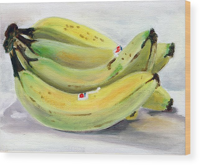 Still-life Wood Print featuring the painting Bunch Of Bananas by Sarah Lynch