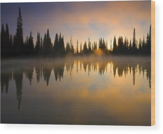 Lake Wood Print featuring the photograph Burning Dawn by Mike Dawson