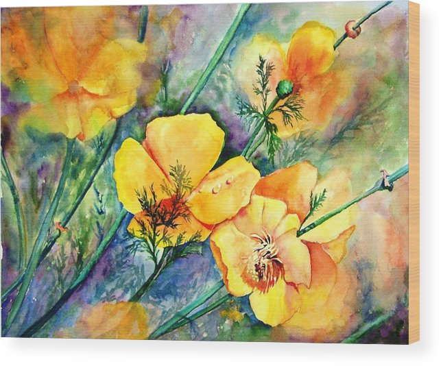 Flowers Wood Print featuring the painting California's Poppies by Dorothy Nalls