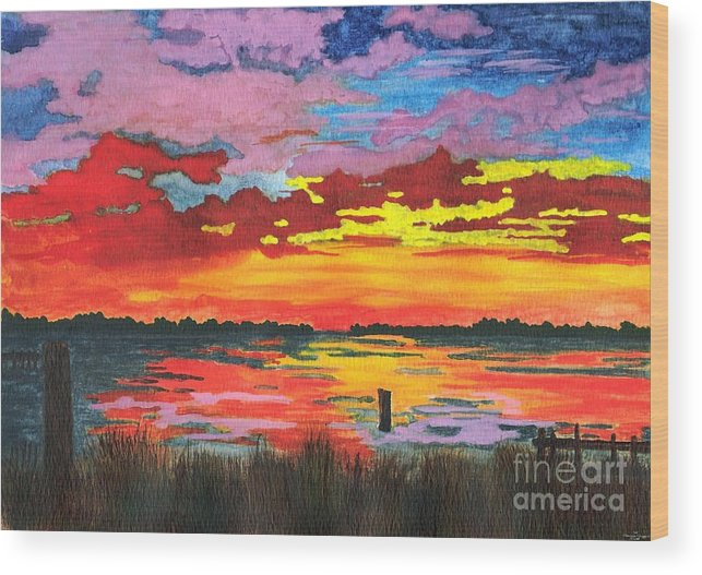 Original Painting Wood Print featuring the painting Carolina Sunset by Patricia Griffin Brett