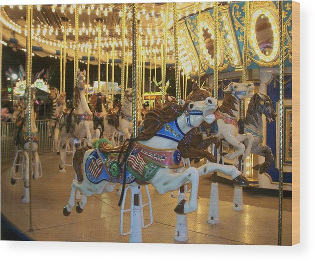 Carousel Horse Wood Print featuring the photograph Carousel Horse 3 by Anita Burgermeister