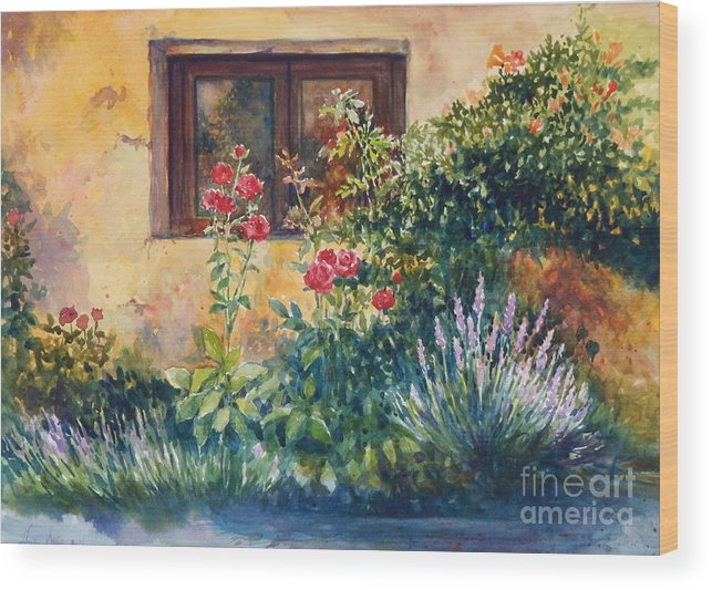 Roses Wood Print featuring the painting Casale Grande Rose Garden by Ann Cockerill