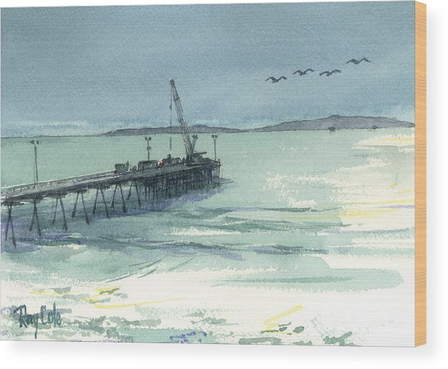View Of Casitas Pier Wood Print featuring the painting Casitas Pier 3 by Ray Cole