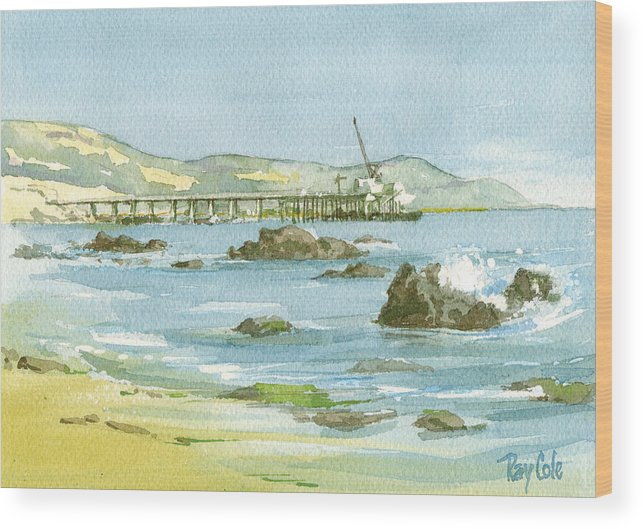Casitas Pier Wood Print featuring the painting Casitas Pier II by Ray Cole