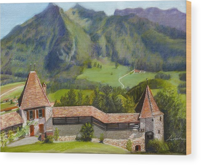 Swiss Panoramic Castle Wood Print featuring the pastel Castle Gruyere Swiss by Leonor Thornton