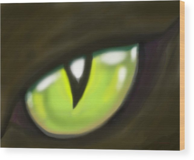Cat Wood Print featuring the painting Cat Eye by Kevin Middleton