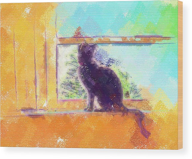 Cat Wood Print featuring the digital art Cat Looking Out The Window by Nora Martinez