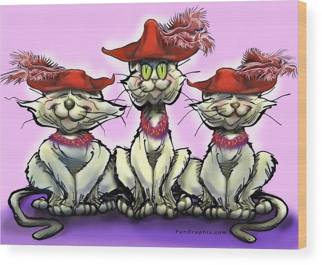 Red Hats Wood Print featuring the digital art Cats In Red Hats by Kevin Middleton