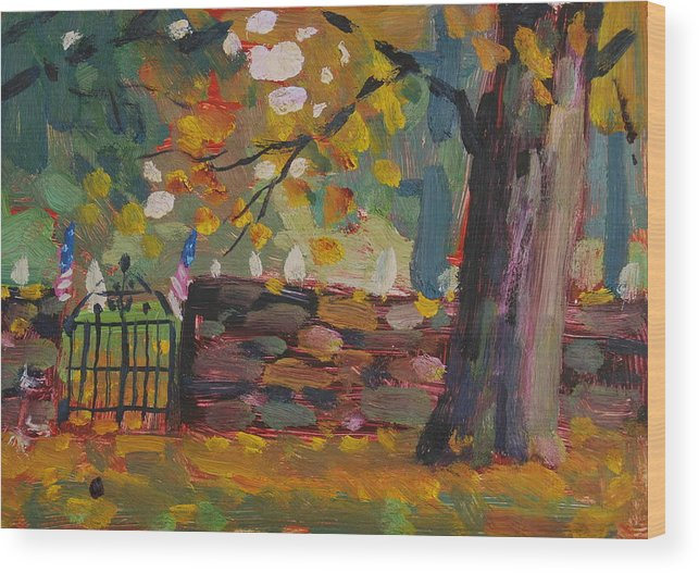 Berkshire Hills Paintings Wood Print featuring the painting Cemetery Gate by Len Stomski