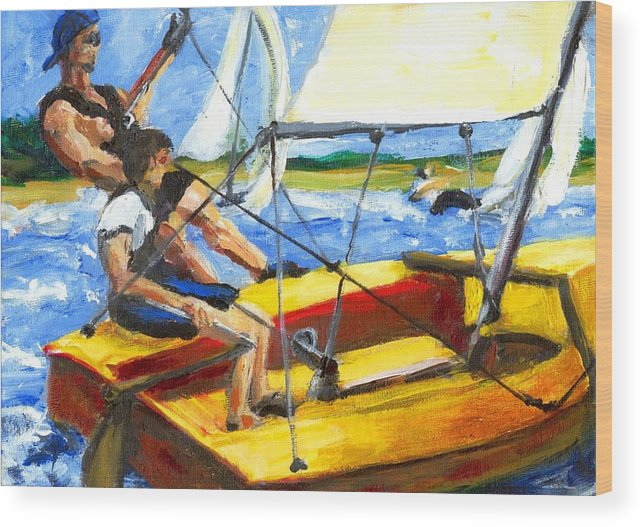 Coronado 15 Wood Print featuring the painting Charlies Race Boat by Randy Sprout