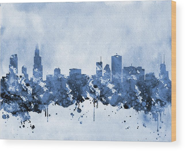 Chicago Wood Print featuring the digital art Chicago Skyline-blue 2 by Erzebet S